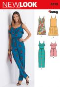 6373 New Look Pattern: Misses' Jumpsuit or Romper and Dresses
